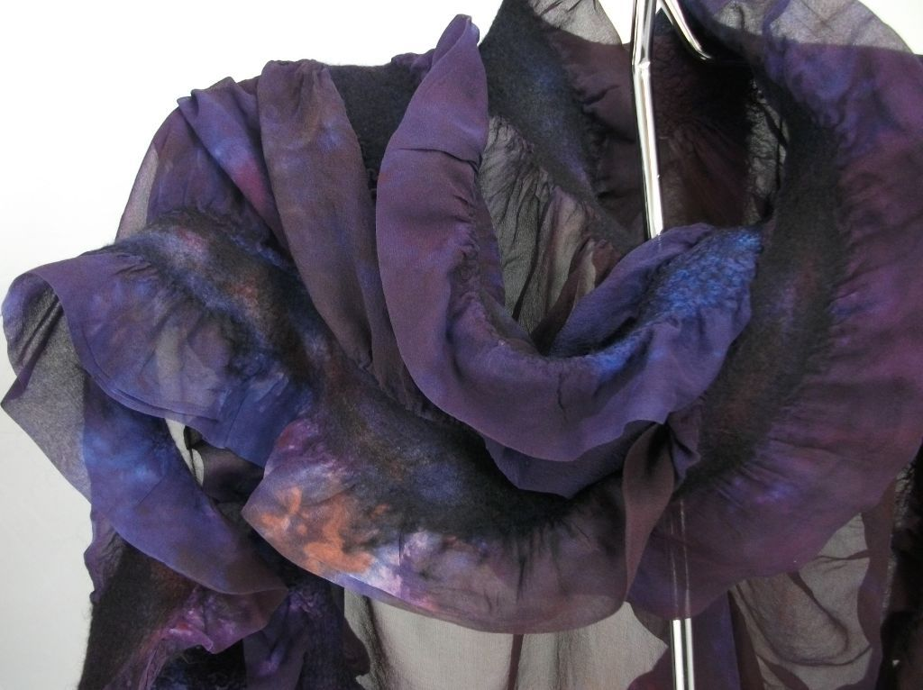 Hand-dyed hand-felted silk and merino wool