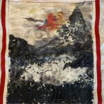 Painting with wool and shredded fabric