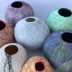 Collection of felt and paper/silk Vessels